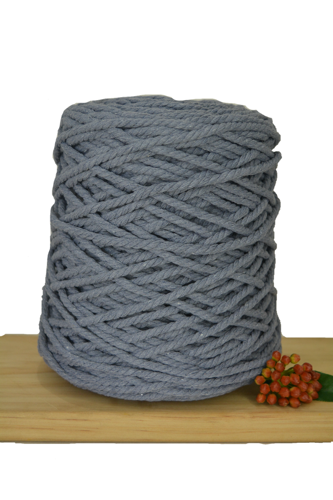 1kg Coloured 3 ply Recycled Cotton Rope - 5mm - Graphite