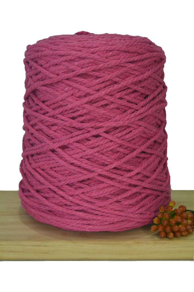 1kg Coloured 3 ply Cotton Rope - 3mm - Hot Pink