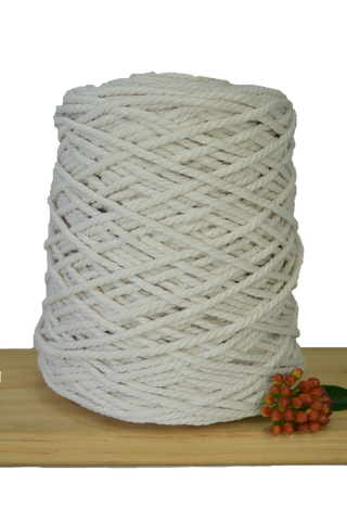 1kg Coloured 3 ply Recycled Cotton Rope - 4mm - Ivory