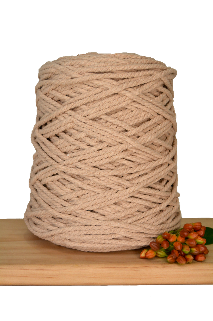 1kg Coloured 3 ply Recycled Cotton Rope - 4mm - Latte