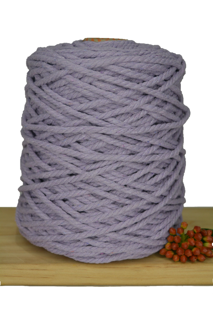 1kg Coloured 3 ply Recycled Cotton Rope - 5mm - Lavender