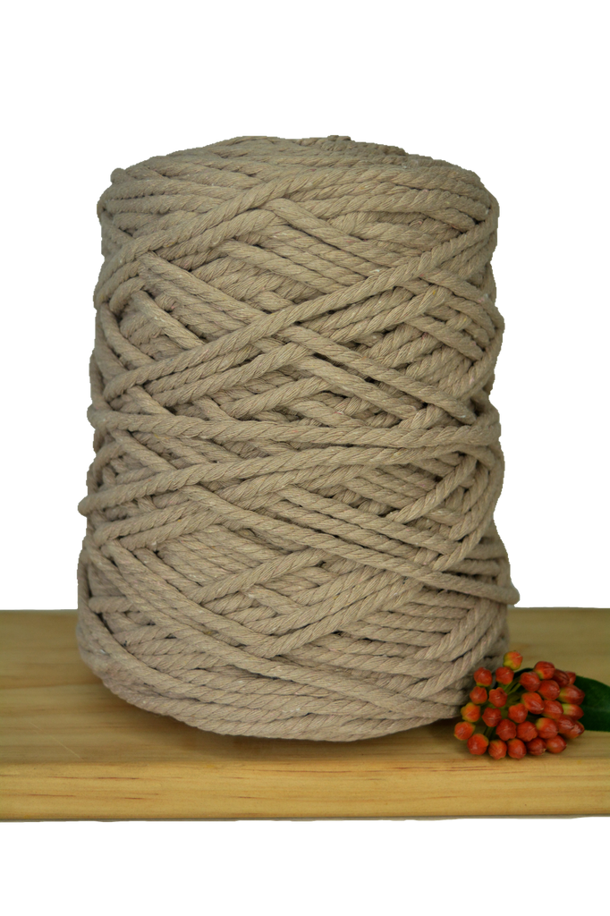 1kg Coloured 3ply Recycled Cotton Rope - 5mm - Linen