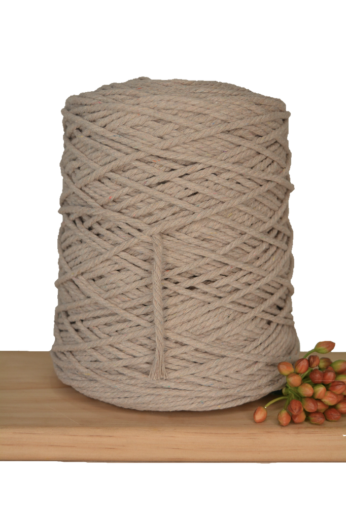 1kg Coloured 3 ply Cotton Rope - 3mm - Mink