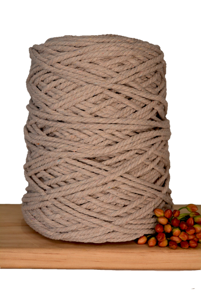 1kg Coloured 3 ply Recycled Cotton Rope - 4mm - Mink