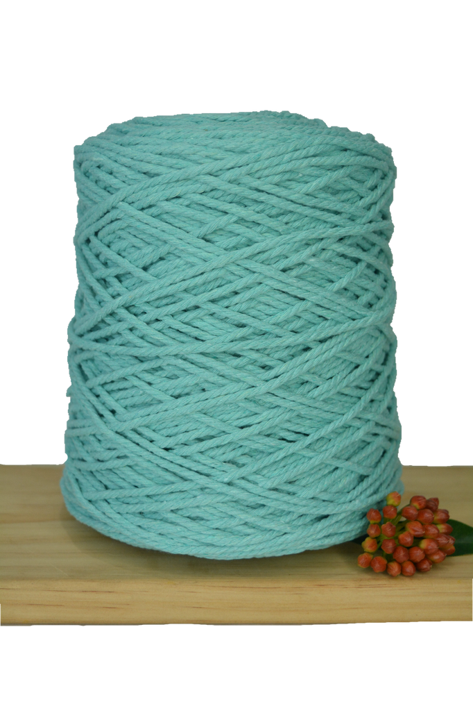 1kg Coloured 3 ply Cotton Rope - 3mm - Mint