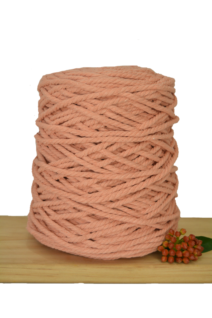 1kg Coloured 3 ply Recycled Cotton Rope - 5mm - Peach