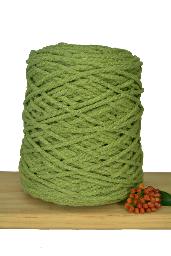 1kg Coloured 3 ply Recycled Cotton Rope - 5mm - Pistachio