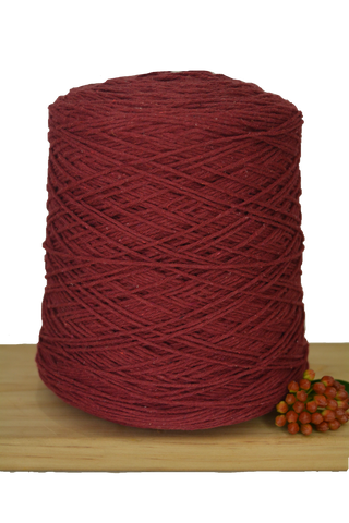 1kg Coloured 1ply Cotton Warping String - 1mm - Red Wine