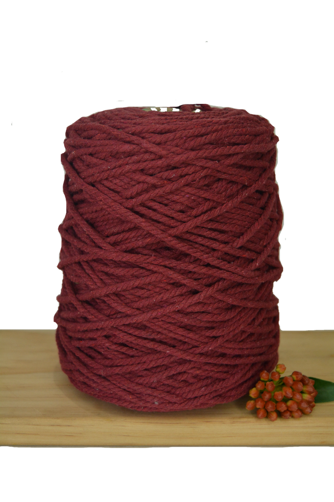 1kg Coloured 3 ply Recycled Cotton Rope - 5mm - Red Wine