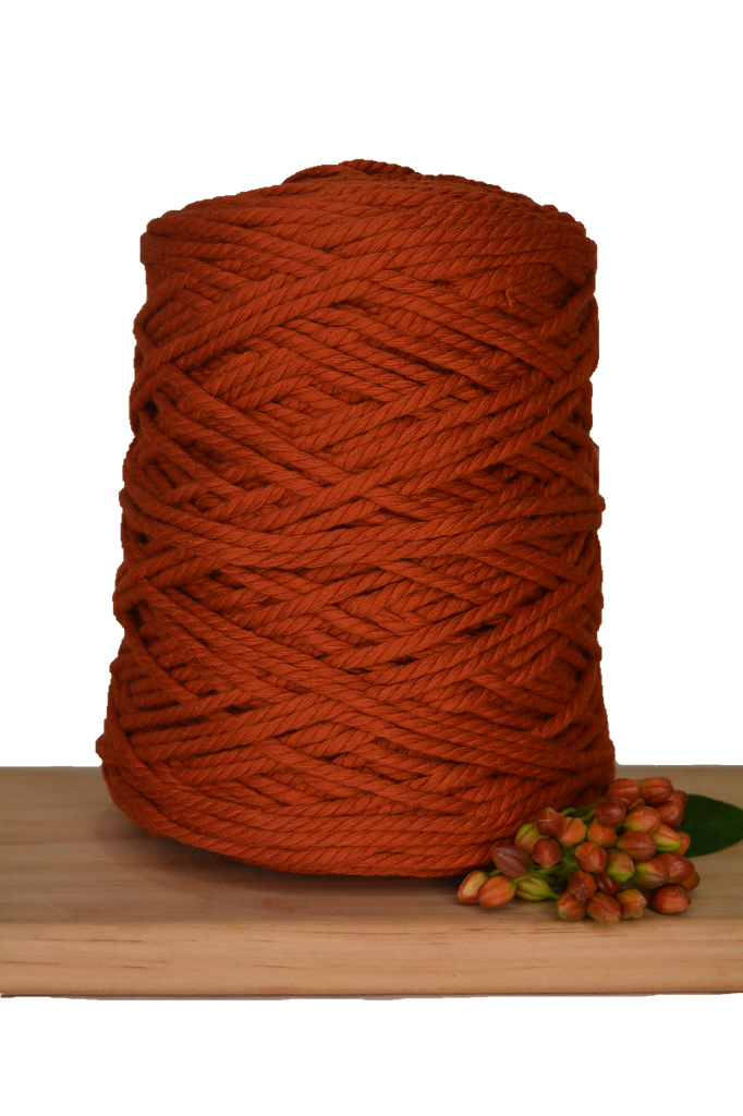 1kg Coloured 3 ply Recycled Cotton Rope - 4mm - Rust