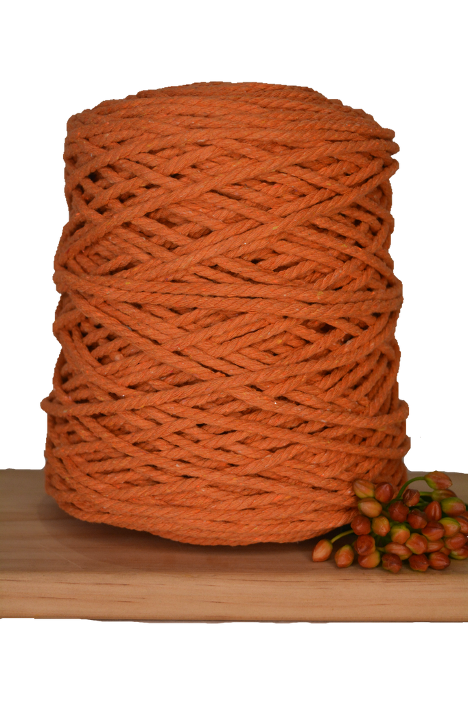 1kg Coloured 3 ply Recycled Cotton Rope - 4mm - Saffron