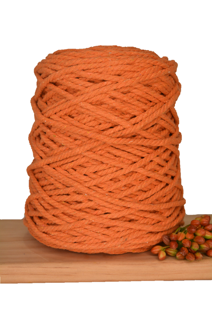 1kg Coloured 3 ply Recycled Cotton Rope - 5mm - Saffron