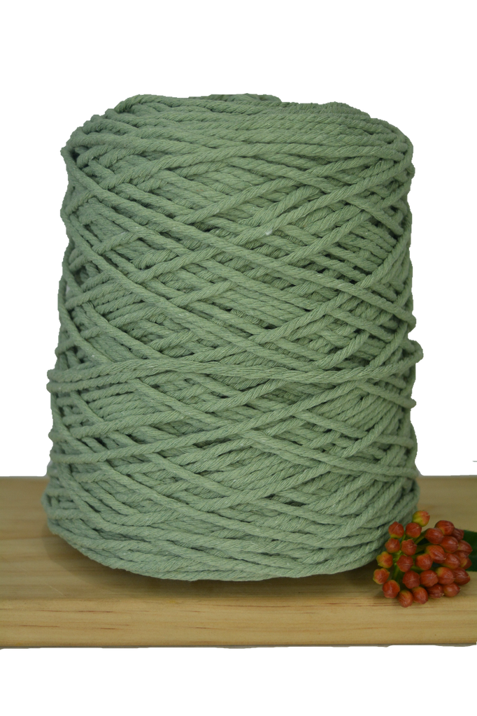 1kg Coloured 3 ply Cotton Rope - 3mm - Sage