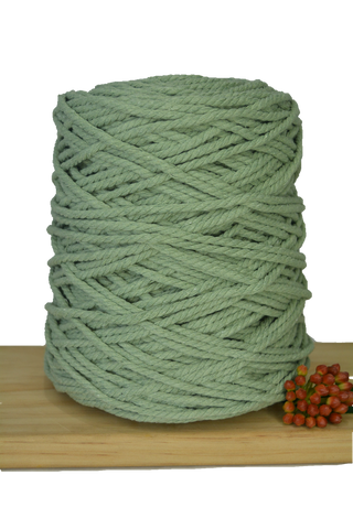 1kg Coloured 3 ply Recycled Cotton Rope - 4mm - Sage