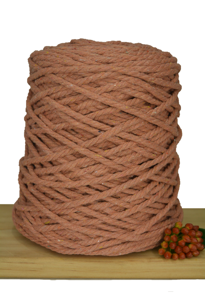 1kg Coloured 3 ply Recycled Cotton Rope - 5mm - Salmon