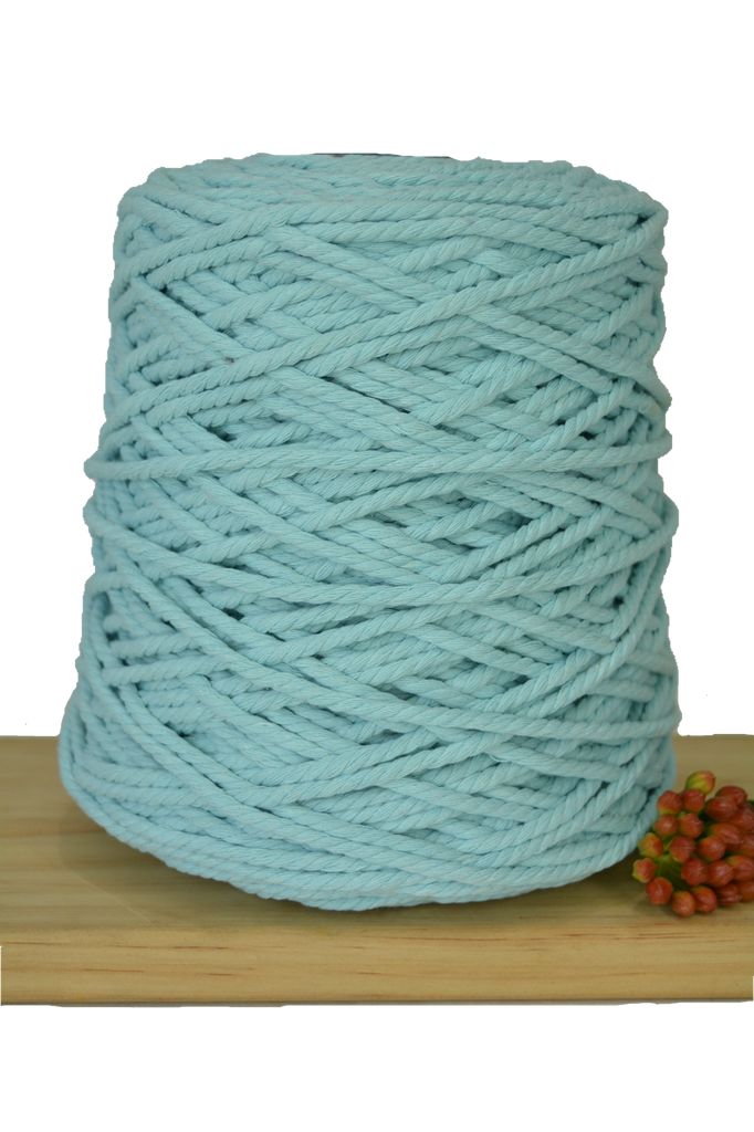 1kg Coloured 3 ply Recycled Cotton Rope - 4mm - Seafoam