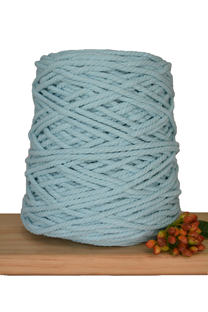 1kg Coloured 3 ply Recycled Cotton Rope - 5mm - Seafoam