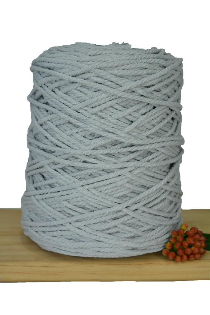 1kg Coloured 3 ply Cotton Rope - 3mm - Silver