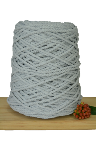 1kg Coloured 3 ply Recycled Cotton Rope - 4mm - Silver