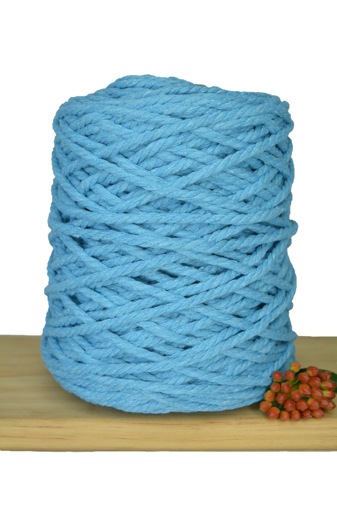 1kg Coloured 3 ply Recycled Cotton Rope - 5mm - Sky Blue