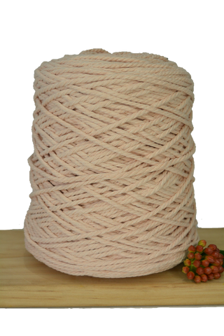 1kg Coloured 3 ply Cotton Rope - 3mm - Soft Peach