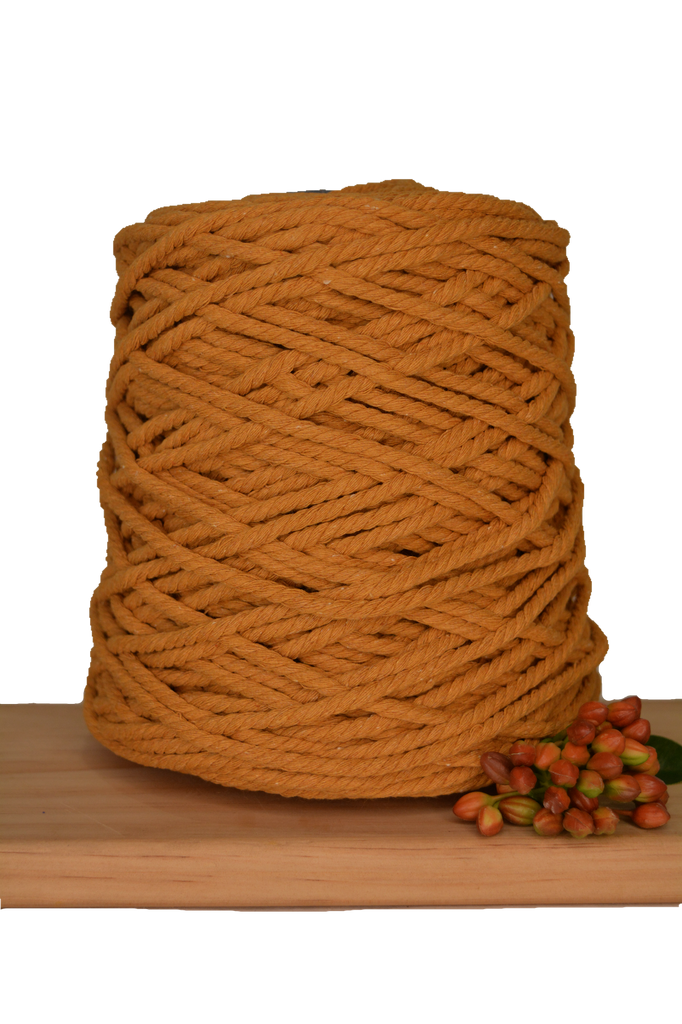 1kg Coloured 3 ply Recycled Cotton Rope - 5mm - Spiced Pumpkin