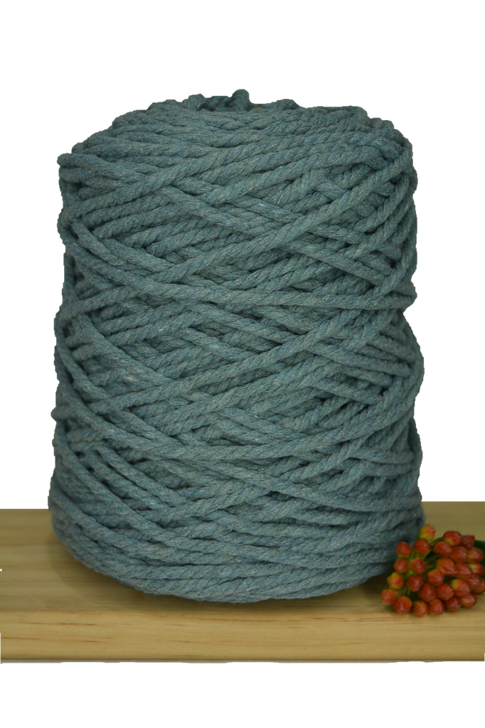 1kg Coloured 3 ply Recycled Cotton Rope - 5mm - Storm