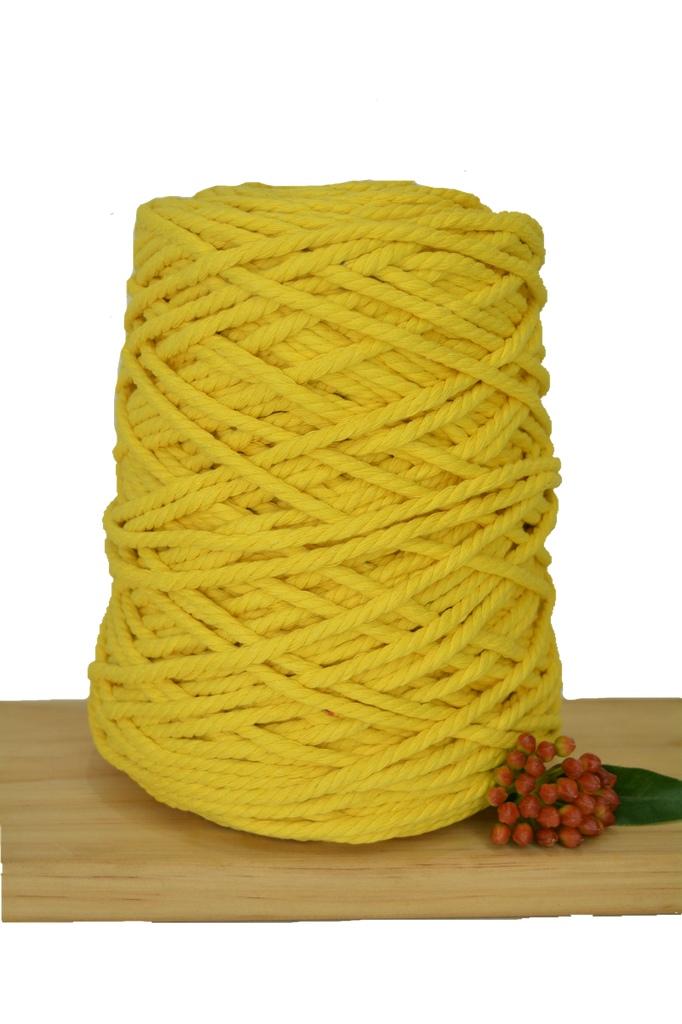 1kg Coloured 3 ply Recycled Cotton Rope - 5mm - Sunshine