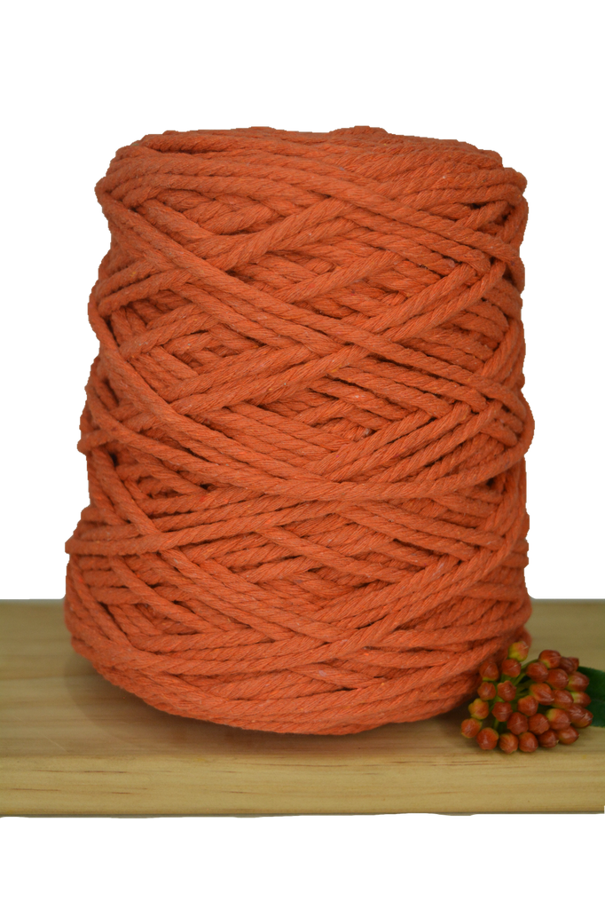 1kg Coloured 3 ply Recycled Cotton Rope - 5mm - Tangerine