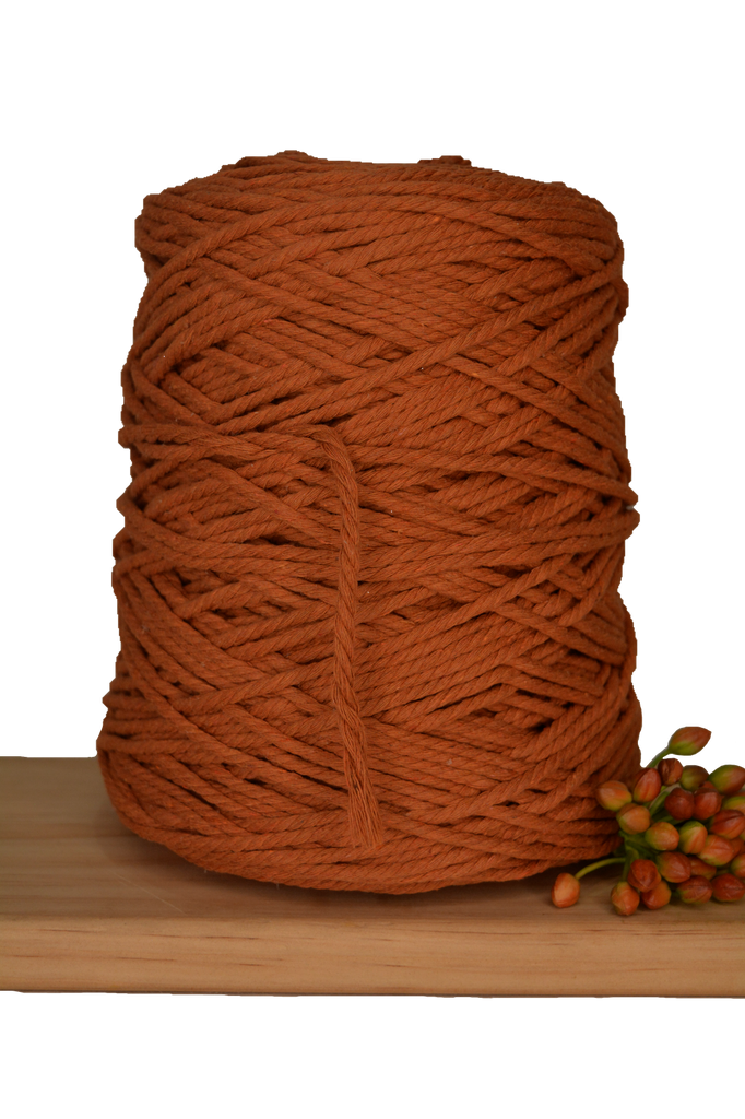 1kg Coloured 3 ply Cotton Rope - 3mm - Tumeric