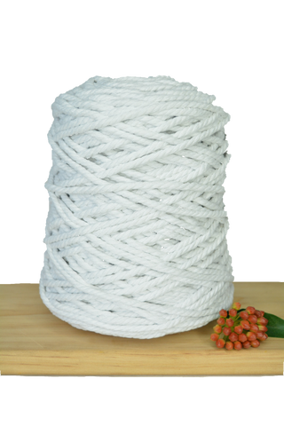 1kg Coloured 3 ply Recycled Cotton Rope - 5mm - White