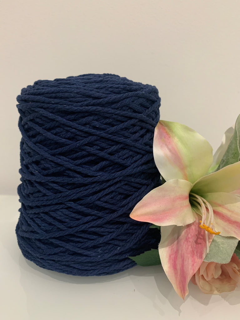 1kg Coloured 3 ply Cotton Rope - 3mm - Ink