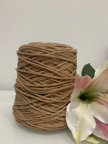 1kg Coloured 3 ply Cotton Rope - 3mm - Nude