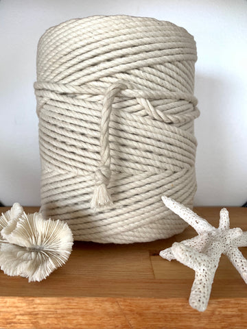 1kg 5mm 100% Pure Deluxe Cotton 3ply Rope - Cream