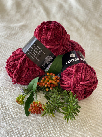 Velour Yarn - Red Wine - PACK OF 10