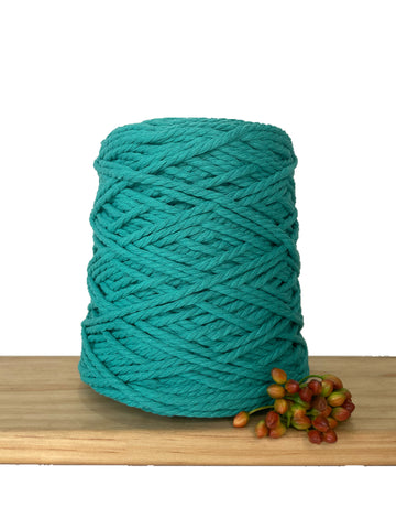1kg Coloured 3 ply Recycled Cotton Rope - 4mm - New Teal