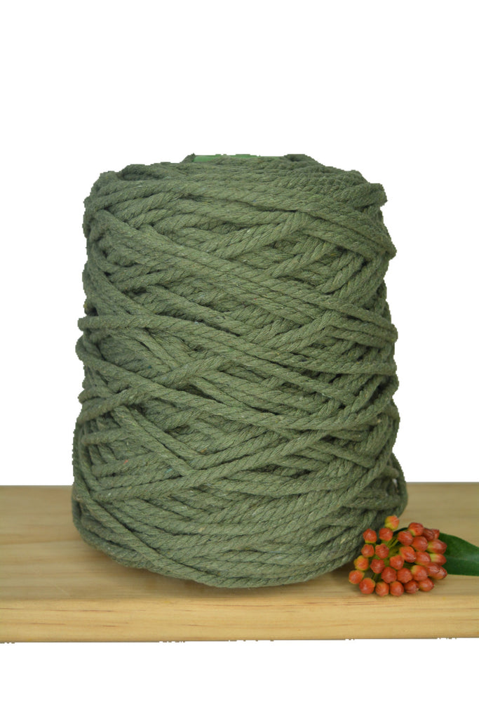 1kg Coloured 3 ply Recycled Cotton Rope - 5mm - Khaki