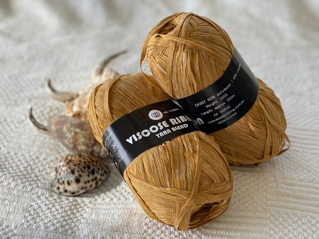 Ribbon Viscose Yarn - Mustard