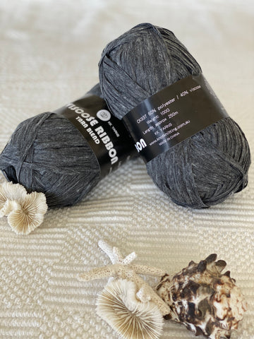 Ribbon Viscose Yarn - Dark Grey - PACK OF 10