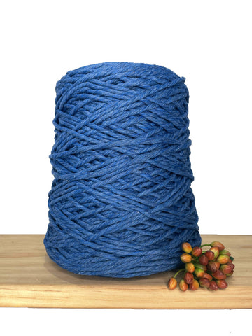 1kg Coloured 1ply Recycled Cotton String - 3mm - Denim