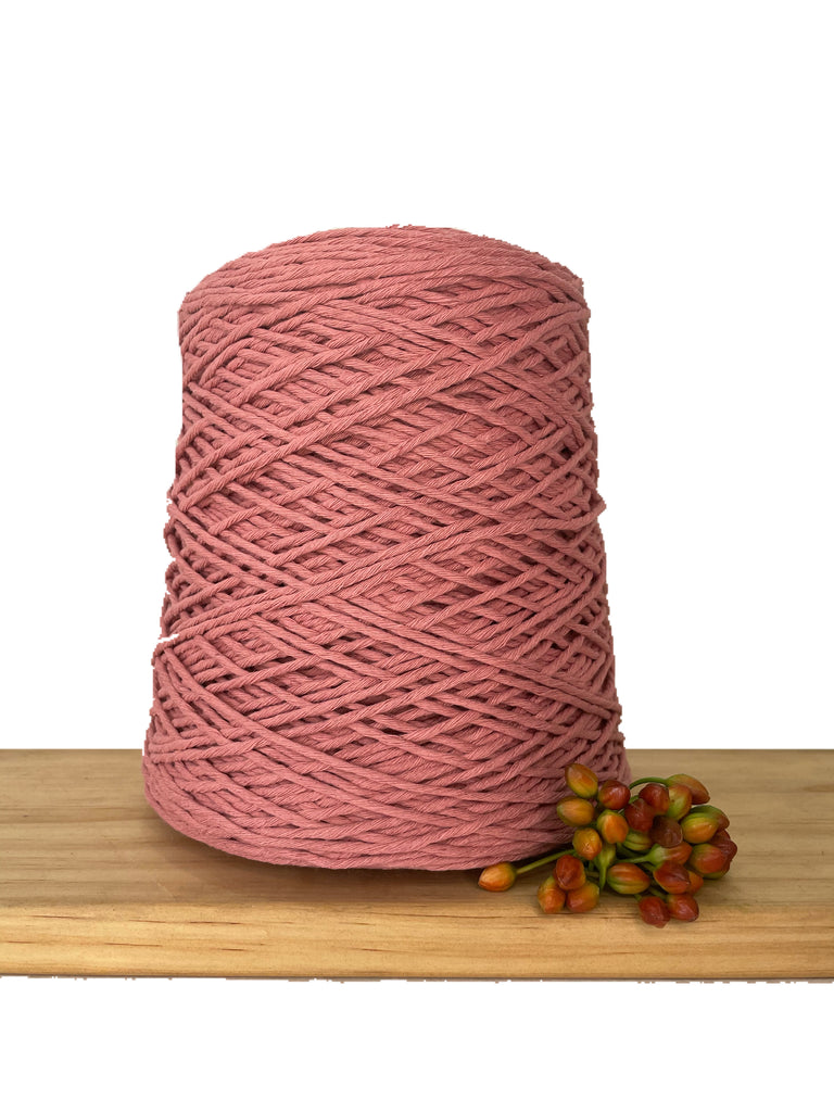 1kg Coloured 1ply Cotton Warping String - 1.5mm - Dusty Rose