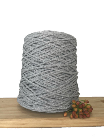 1kg Coloured 1ply Recycled Cotton String - 3mm - Light Grey