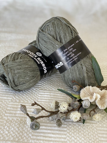 Ribbon Viscose Yarn - Khaki - PACK OF 10
