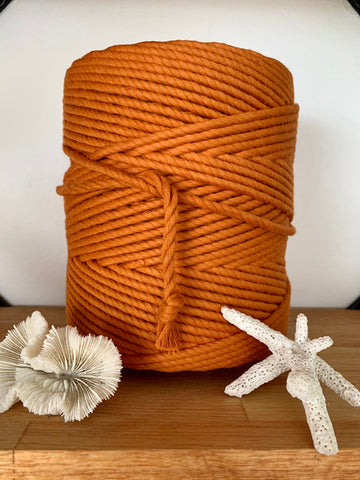 1kg 5mm 100% Pure Deluxe Cotton 3ply Rope - Burnt Orange
