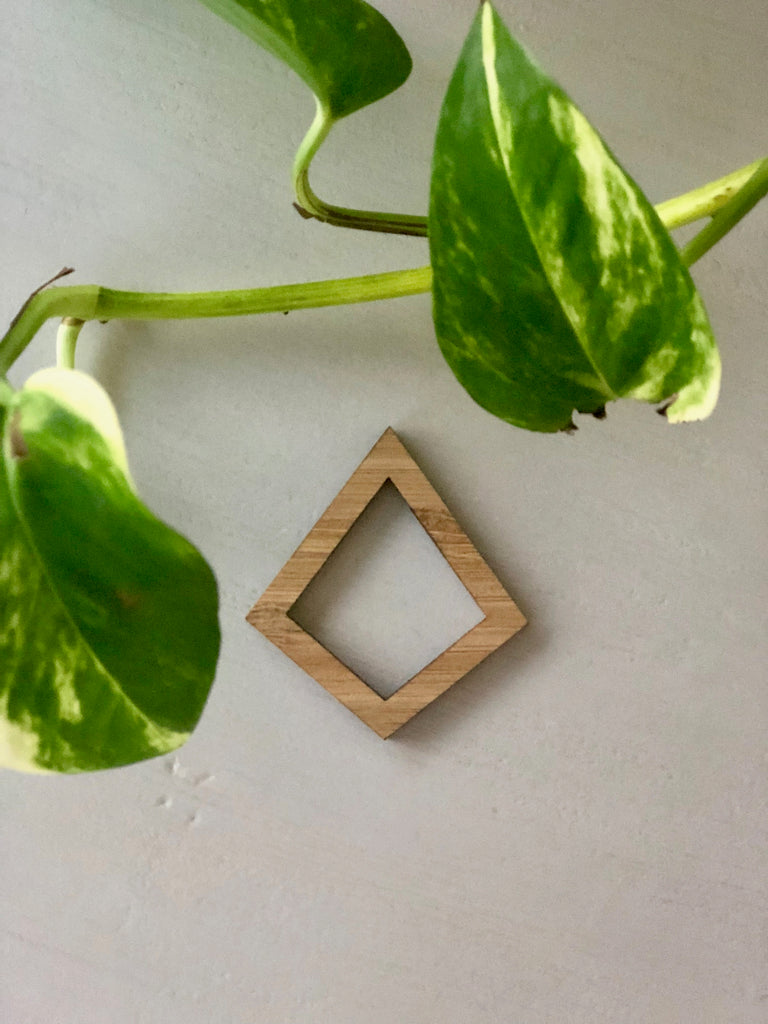 Bamboo Pendant Frame - Diamond - 5 Pack