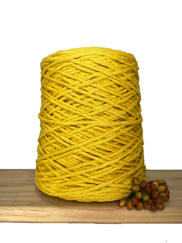 1kg Coloured 1ply Recycled Cotton String - 3mm - Sunflower
