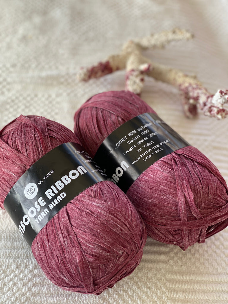 Ribbon Viscose Yarn - Burgundy - PACK OF 10