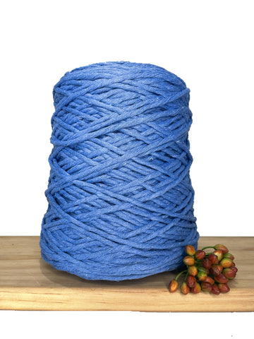 1kg Coloured 1ply Recycled Cotton String - 3mm - Santorini Blue