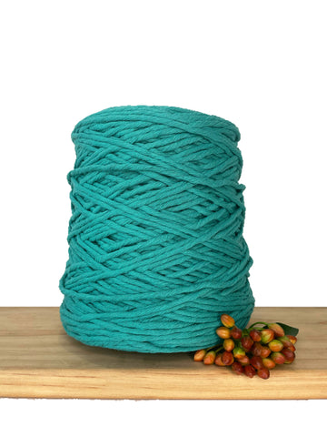 1kg Coloured 1ply Recycled Cotton String - 3mm - New Teal