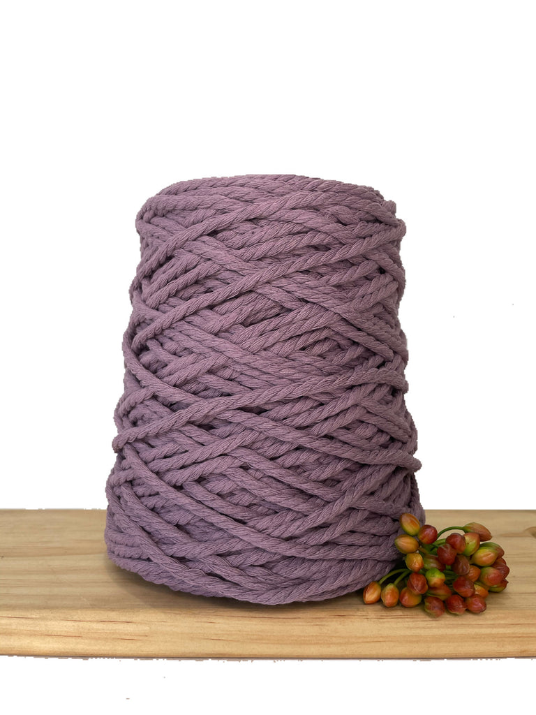1kg Coloured 3ply Recycled Cotton Rope - 5mm - Amethyst